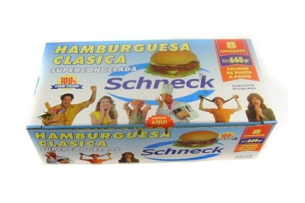 Hamburguesas Clásicas SCHNECK  Carne 100% Vacuna x 8 Unidades 668g en Tienda Inglesa