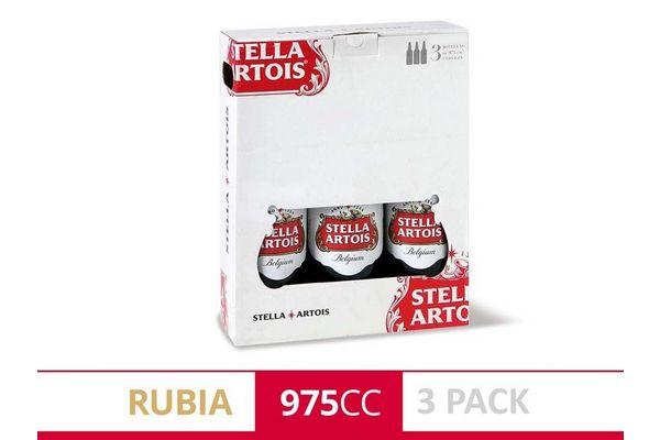 Pack 3 Cervezas STELLA ARTOIS Botella 975ml en Tienda Inglesa
