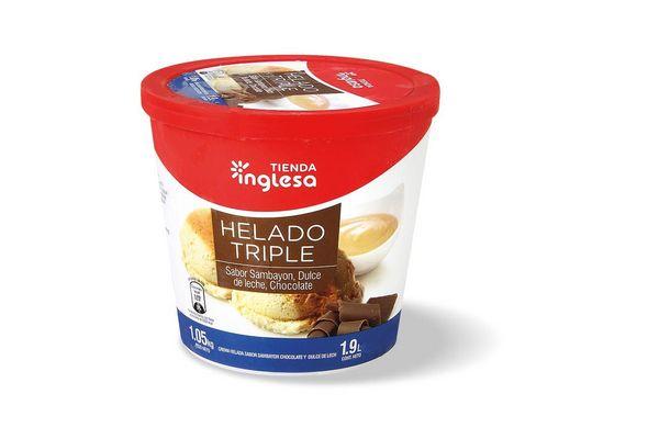 Helado Triple de Sambayón, Dulce de Leche y Chocolate TIENDA INGLESA 1.9 L en Tienda Inglesa