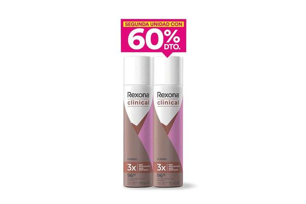 Desodorante REXONA Clinical Aerosol Femenino x 2 Unidades 30% Off en Tienda Inglesa