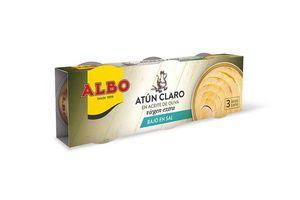 Pack 3 Atún Claro ALBO en Aceite de Oliva Extra Virgen Bajo en Sal 276g en Tienda Inglesa