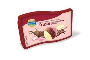 Helado sabor Vainilla, Chocolate y Frutilla CONAPROLE Pote 2l en Tienda Inglesa