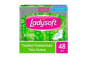 Toallas Femeninas LADYSOFT Normal con Alas y Tela Suave con 48 Unidades en Tienda Inglesa