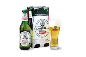 Pack 4 Cervezas CLAUSTHALER Original sin Alcohol 330cc + Copa en Tienda Inglesa