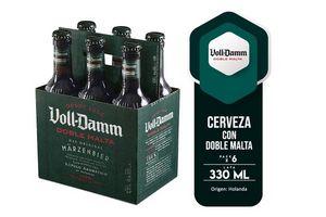 Pack 6 Cervezas VOLL-DAMM Doble Malta Botella 330ml en Tienda Inglesa