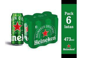 Pack 6 Cervezas HEINEKEN Lata 473ml en Tienda Inglesa