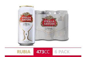 Pack 6 Cervezas STELLA ARTOIS Latas 473 ml en Tienda Inglesa