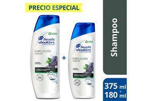 Shampoo HEAD AND SHOULDERS Purificación Capilar 375ml + 180ml en Tienda Inglesa